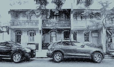 Terrace houses in Paddington NSW Australia esketched by Paul Rappoport June 2015